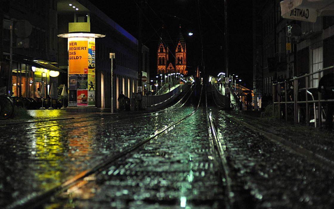 cityscapes night germany street freiburg rain reflection cities wallpaper