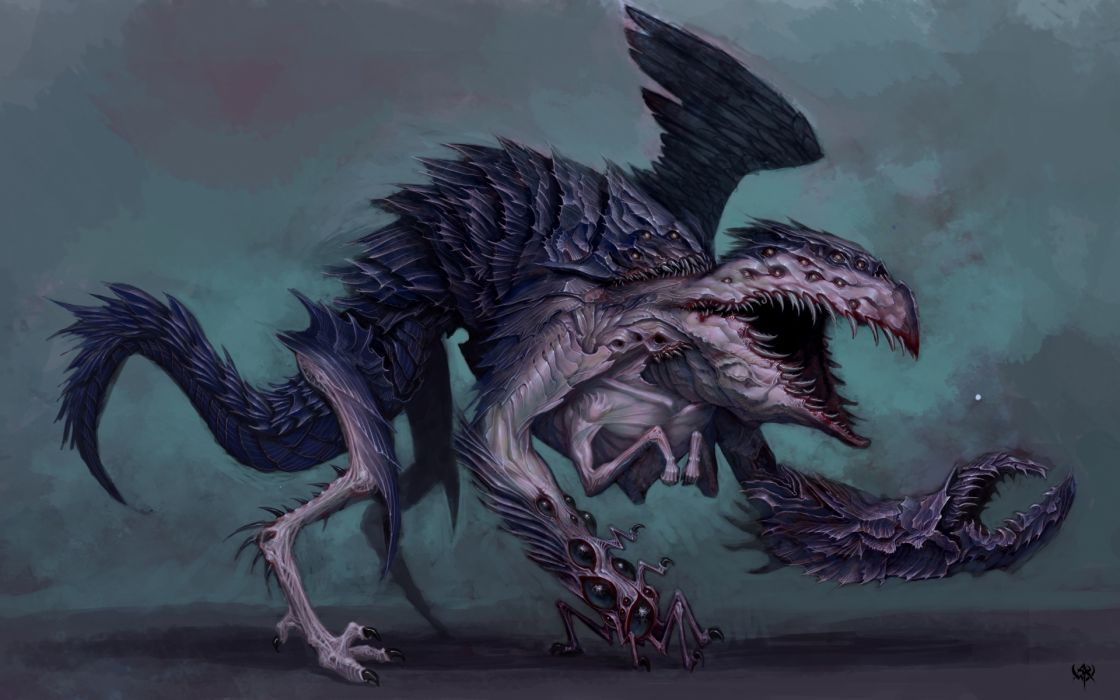warhammer fantasy sci fi monster dark horror art wallpaper
