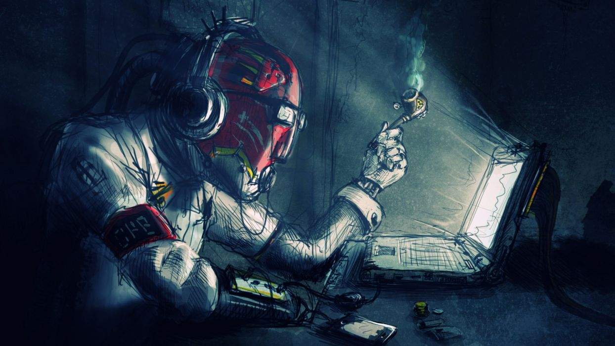 sci fi art marijuana toke cyborg humor robot mech tech computer wallpaper