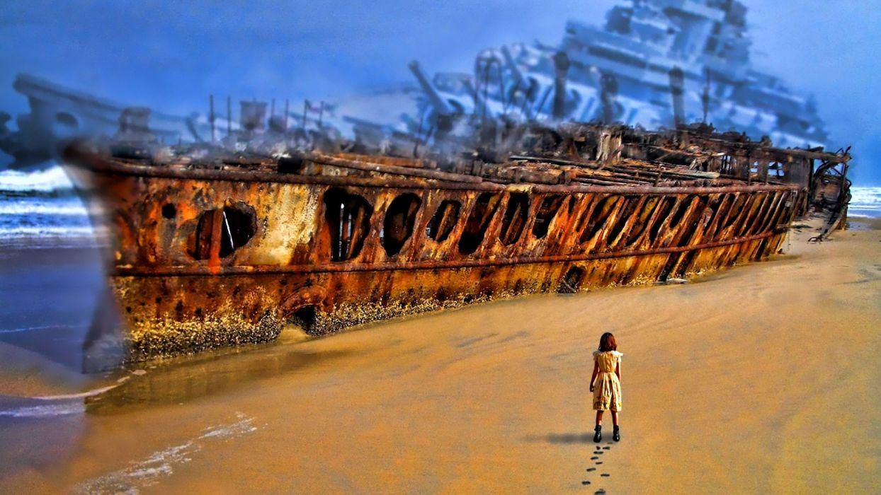 sci fi art anime beaches mood apocalyptic ruin decay ship wreck military weapons guns wallpaper