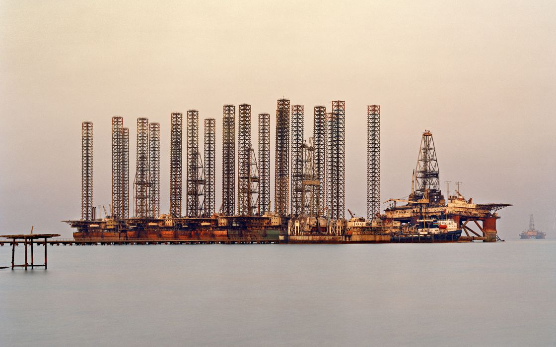 Oil Platform refinery factory ocean wallpaper