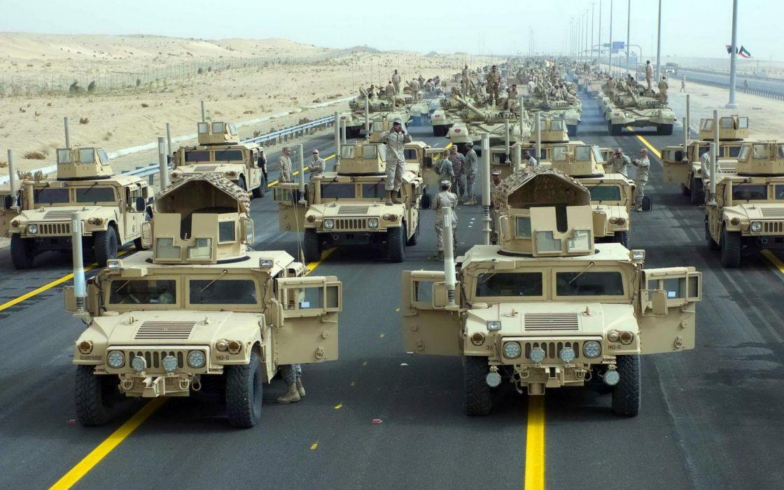 trucks military humvee roads warrior soldier weapons guns wallpaper