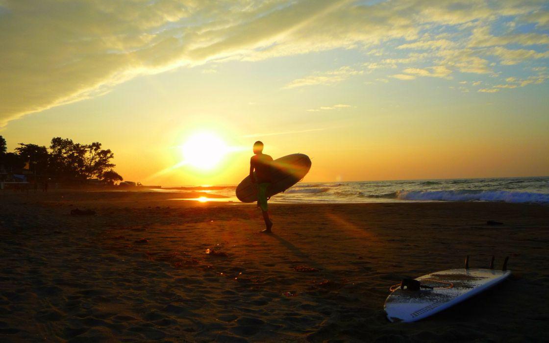 Surfing Board Beaches Sunset Ocean Wallpaper 1920x1200