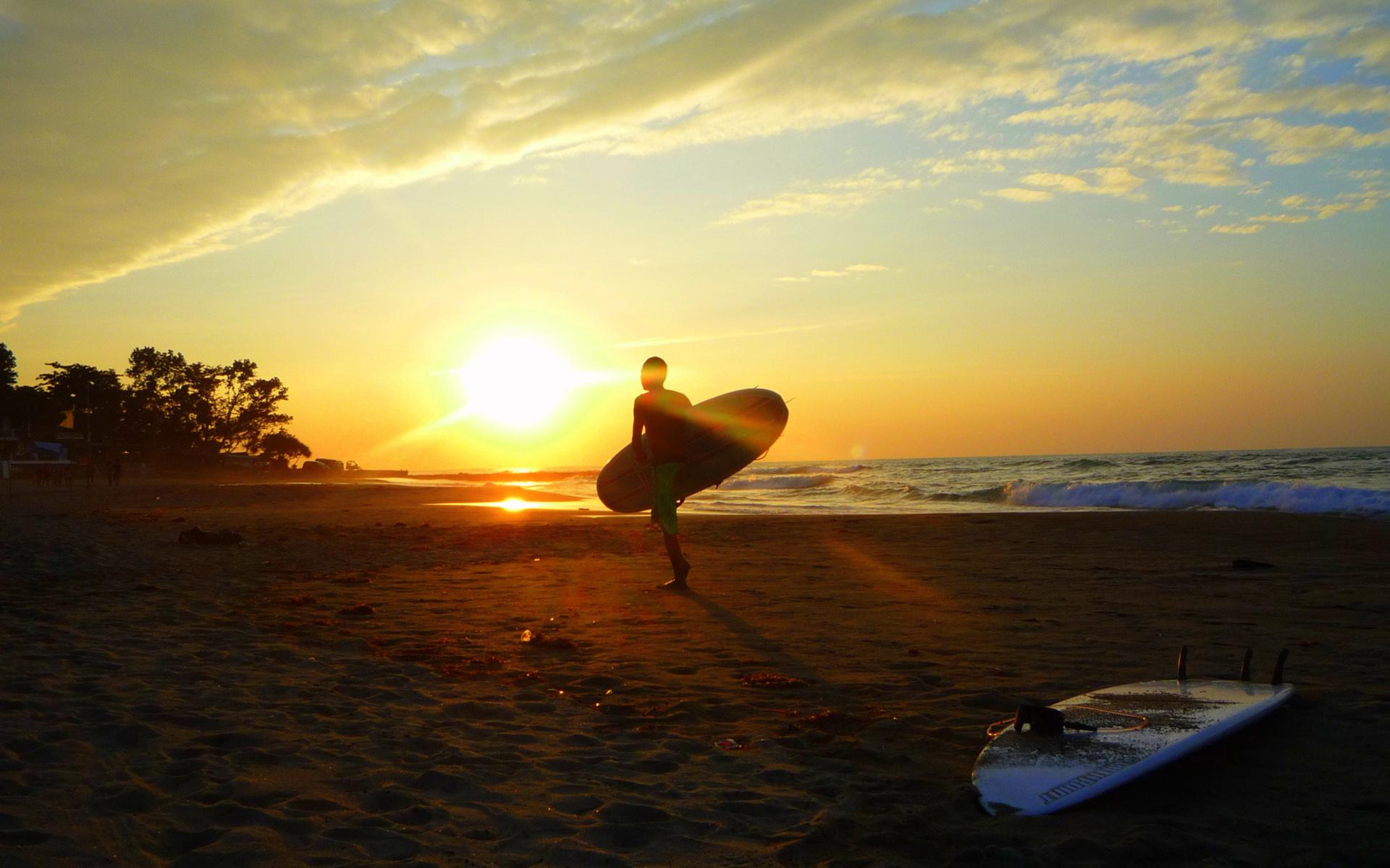 Surfing Board Beaches Sunset Ocean Wallpaper