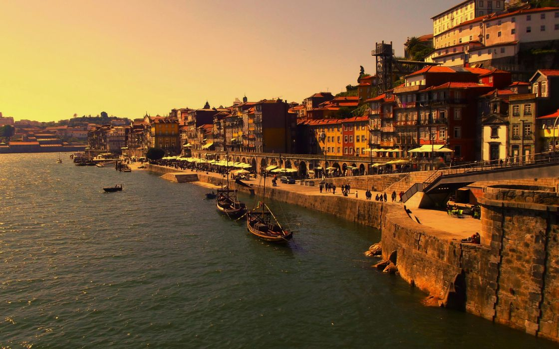 Portugal sea ocean buildings boat wallpaper