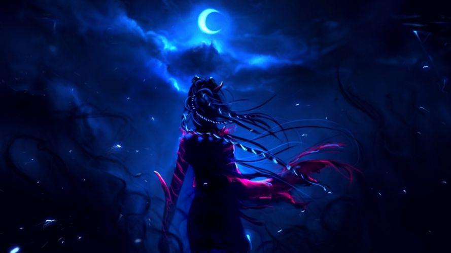 fantasy dark horror art witch sky wallpaper