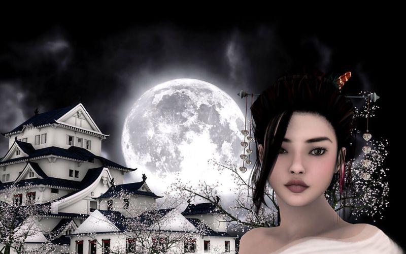 fantasy castle asian oriental women moon wallpaper