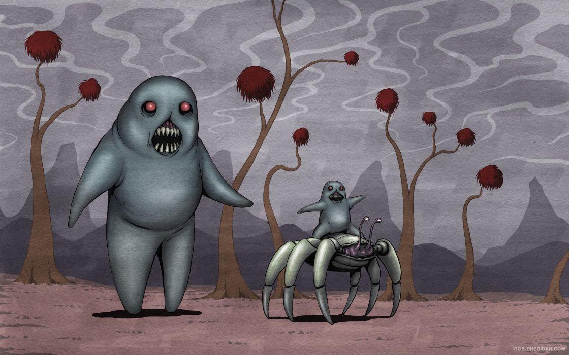 dark horror monster art cartoon fantasy wallpaper