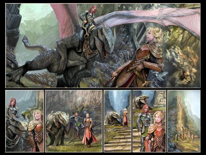 Witchblade comics fantasy dragons warrior art women wallpaper