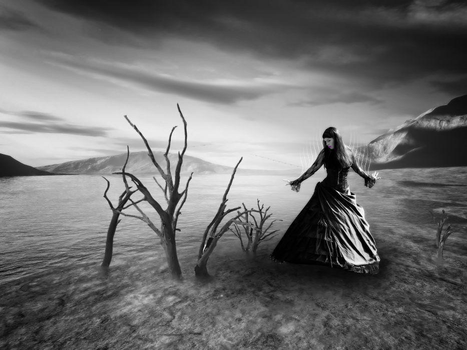 dark women gothic cg digital artlandscapes mood wallpaper