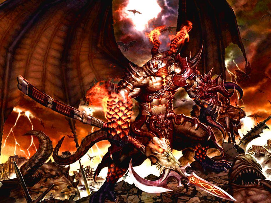 Magic gathering demon fantasy dark evil weapon fire wallpaper