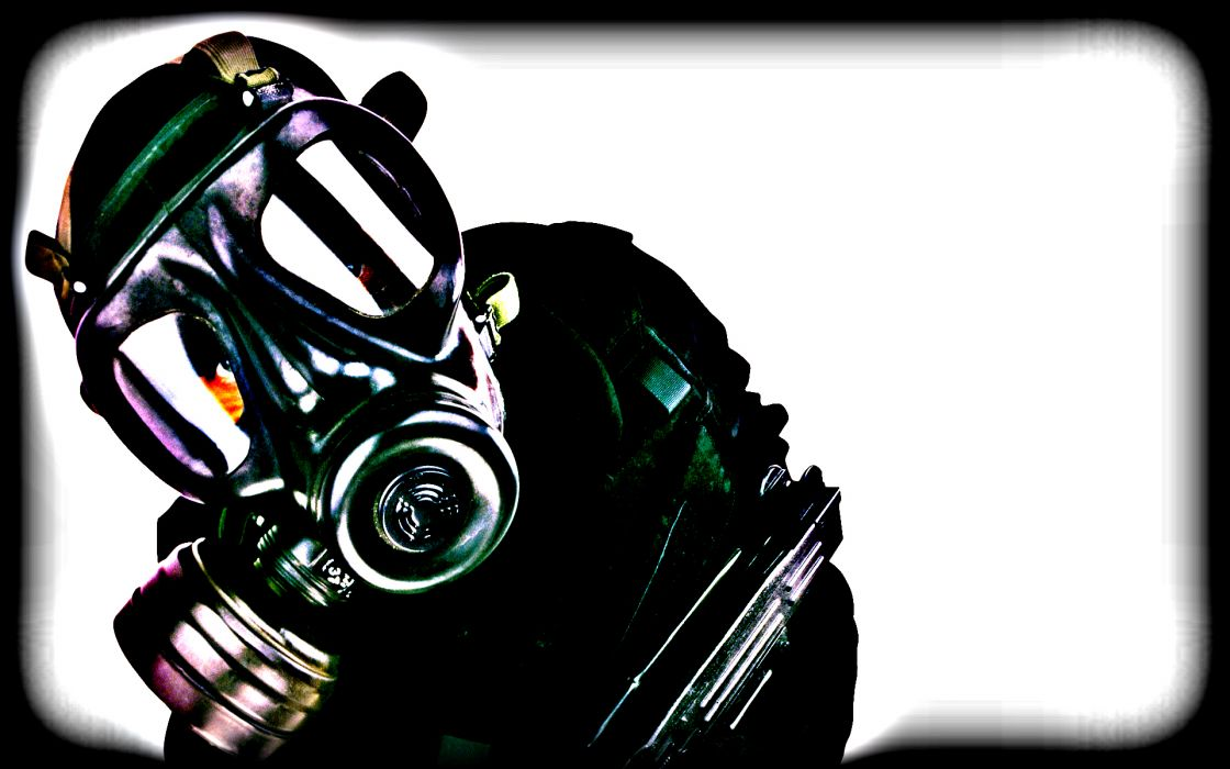 dark horror anarchy gas mask art wallpaper