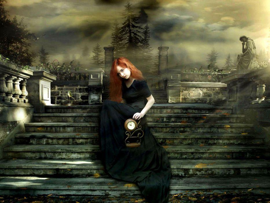 cg digital art gothic dream women time clock fantasy mood wallpaper
