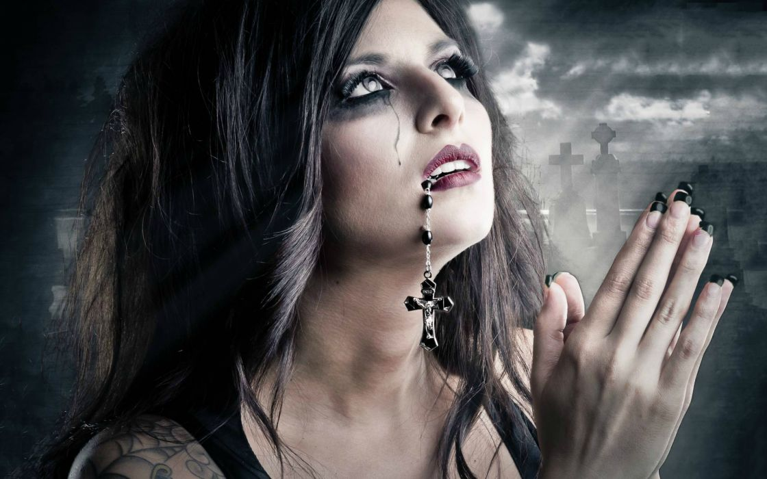 women dark gothic mood sad sorrow cross pray death wallpaper