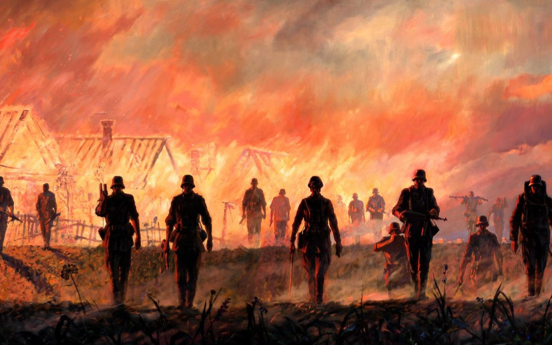 Fedyunin FV Germans Drawing invasion military battle war wariors soldiers fire wallpaper