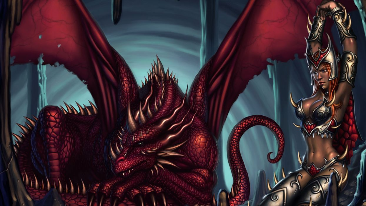 fantasy dragon warrior women wallpaper