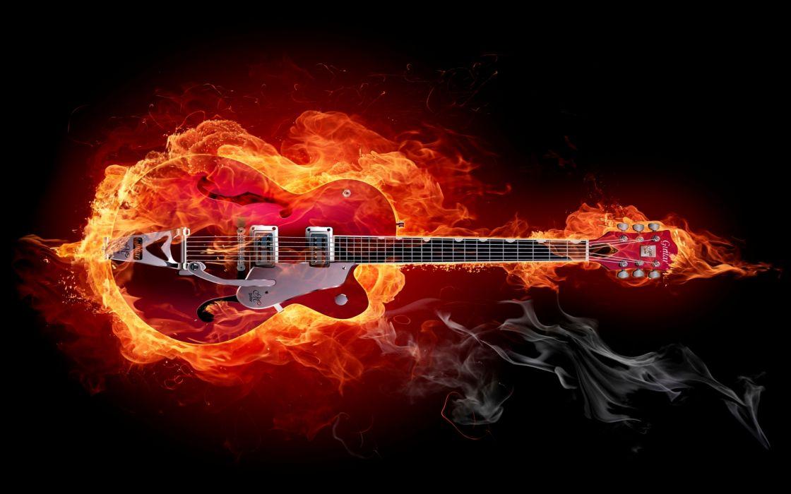 guitars musical instrument strings fire cg wallpaper