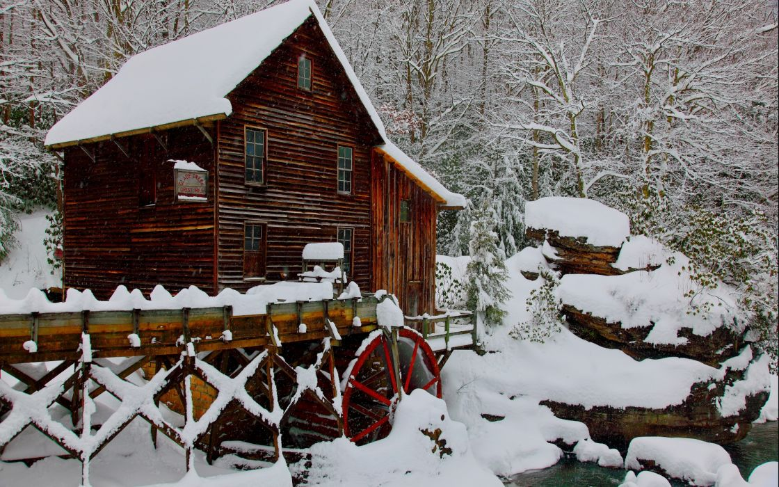 Grist Mill winter wallpaper