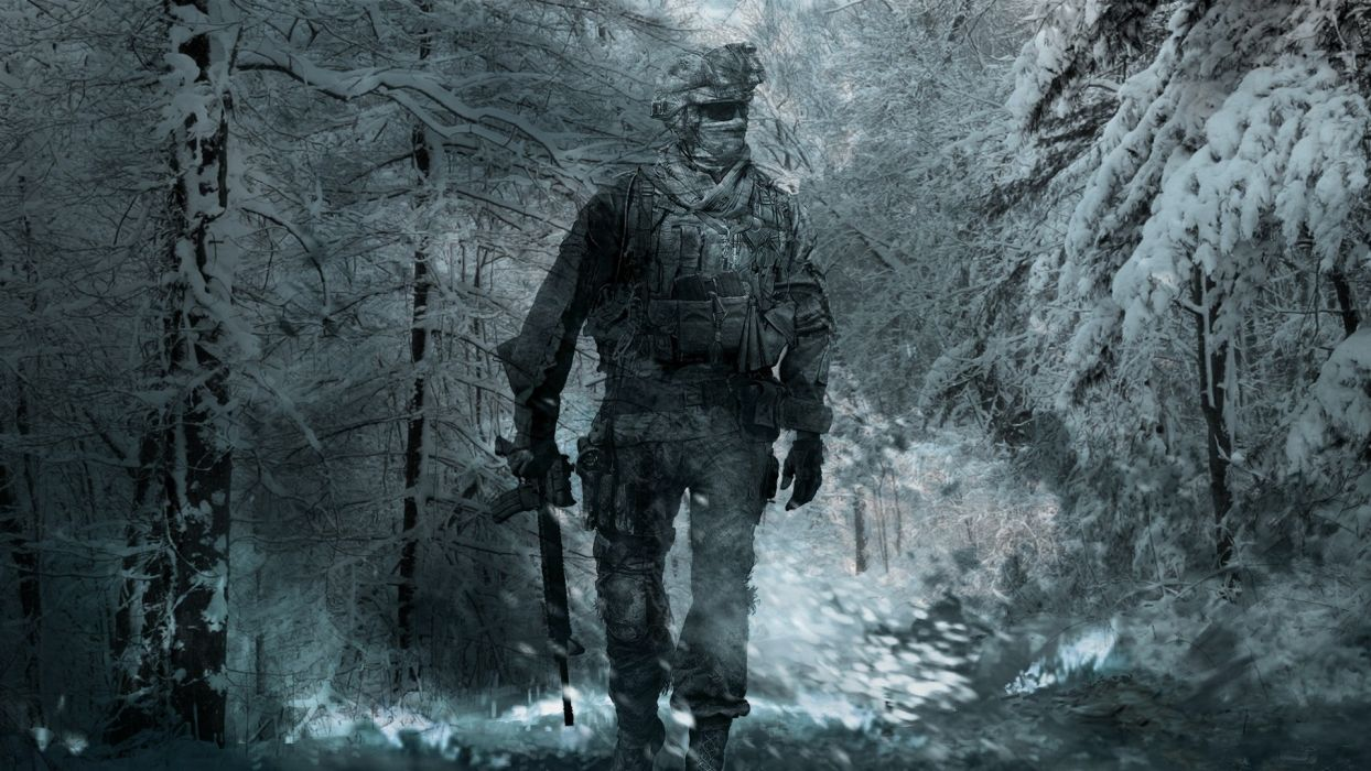 soldiers video games snow forest frozen weapons modern warfare 2 warriors military wallpaper