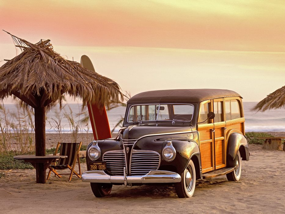 Plymouth 1941 retro classic cars beach wallpaper