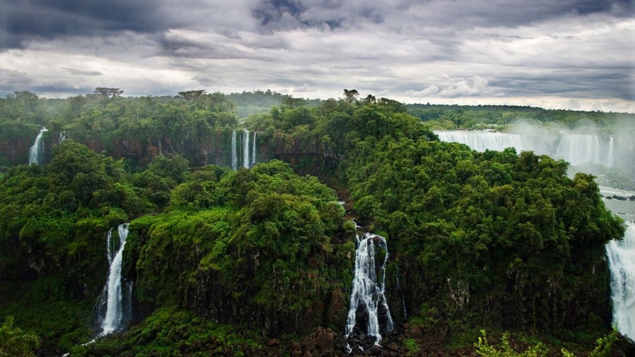 Waterfall Jungle Trees forest wallpaper