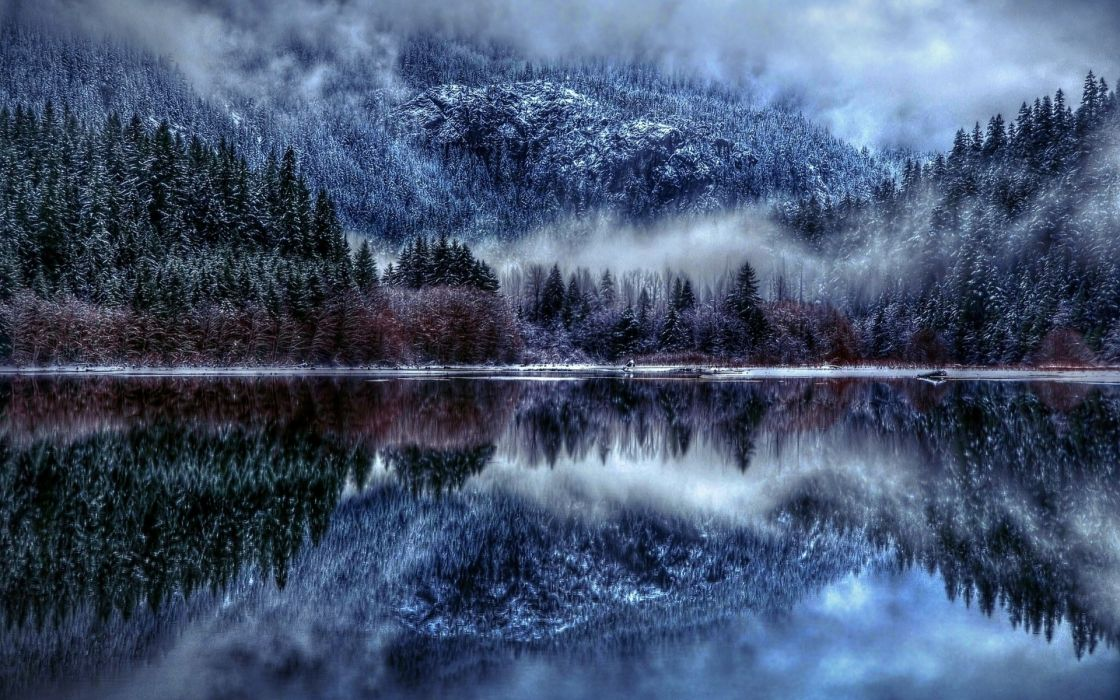 mountains hdr reflection winter trees forest fog wallpaper
