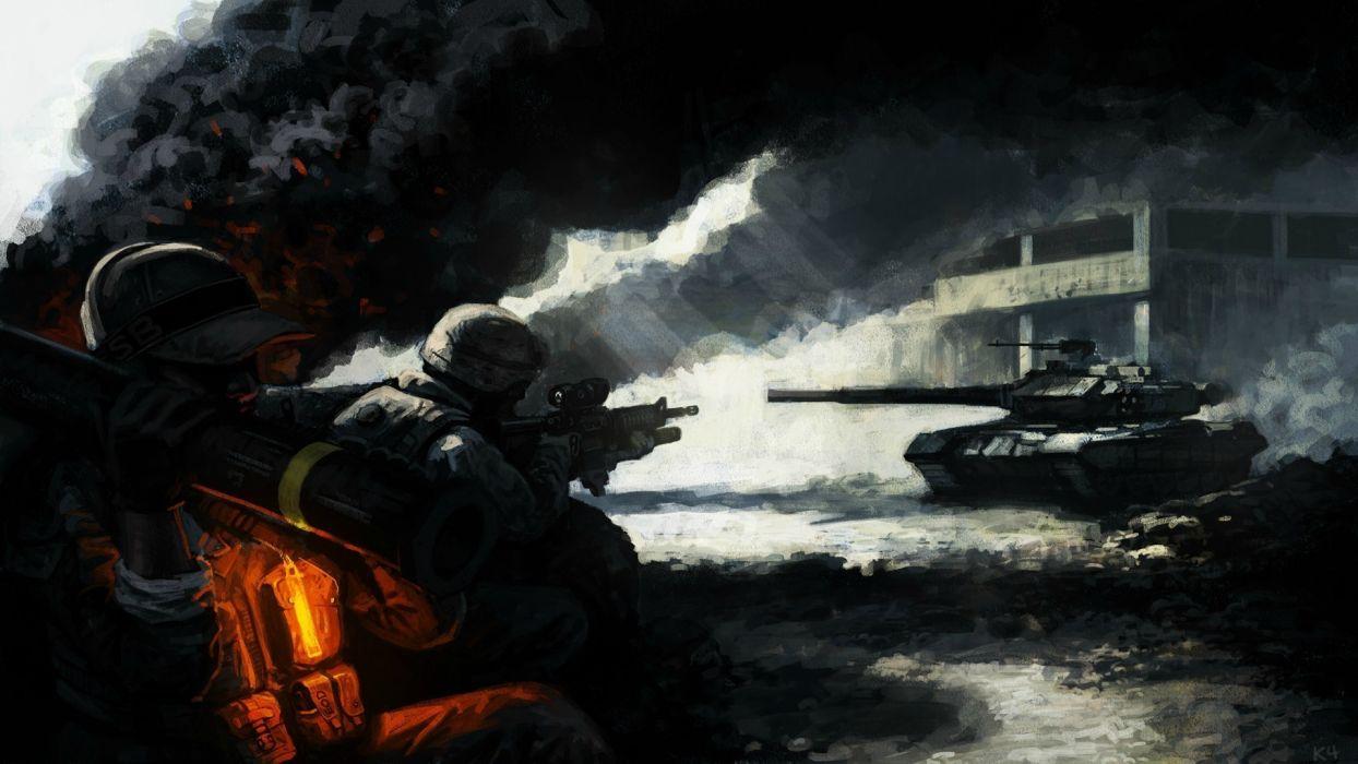 military warrior soldier weapons guns battle art wallpaper