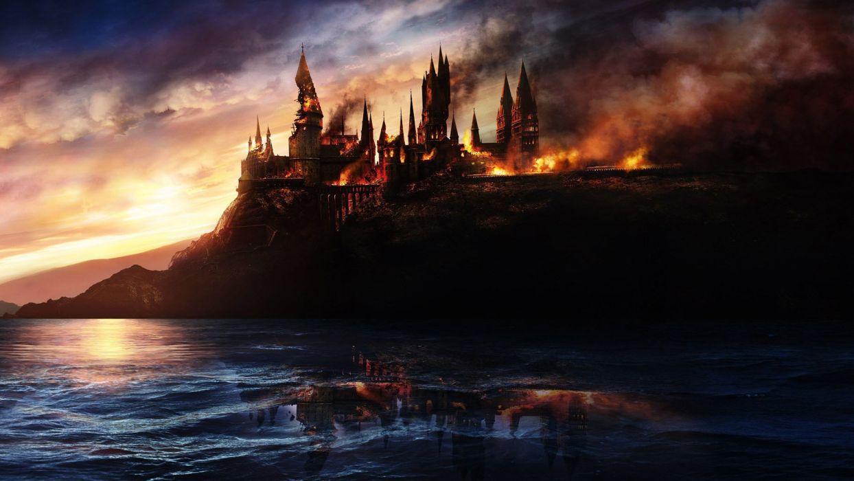 Harry Potter Hogwarts Fantasy Castle Witch Fire Art Cg Digital Wallpaper