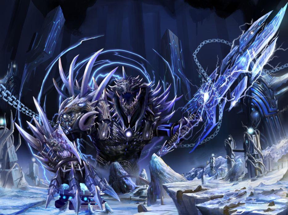 fantasy monster weapons sword art wallpaper