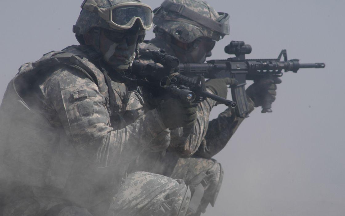 military warrior soldier weapons guns assault rifle wallpaper