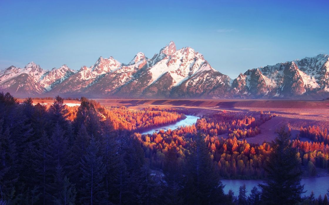 sunsets mountains landscapes nature trees autumn forest fall rivers tetons wallpaper