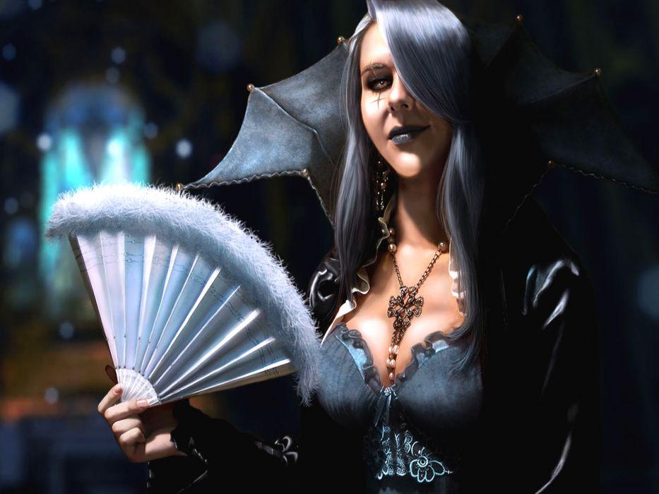 dark horror fantasy vampire women cg digital wallpaper