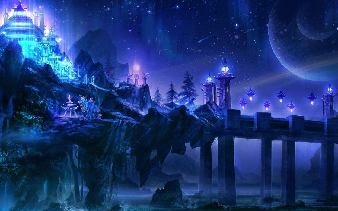 fantasy castles art cities wallpaper