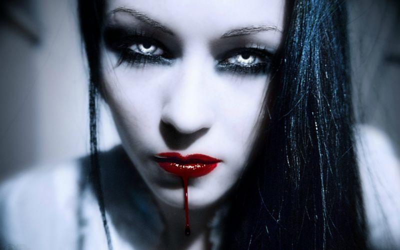 dark horror fantasy gothic vampire women face blood wallpaper