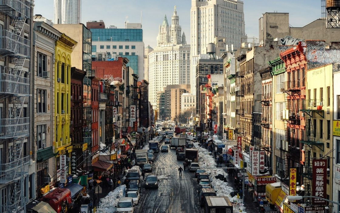 cityscapes new york city chinatown street cars roads people winter buildings wallpaper