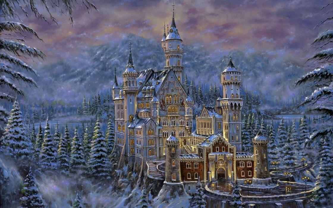 art painting fantasy castle buildings wallpaper