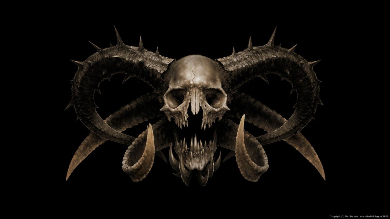 dark horror demon satan occult skull wallpaper
