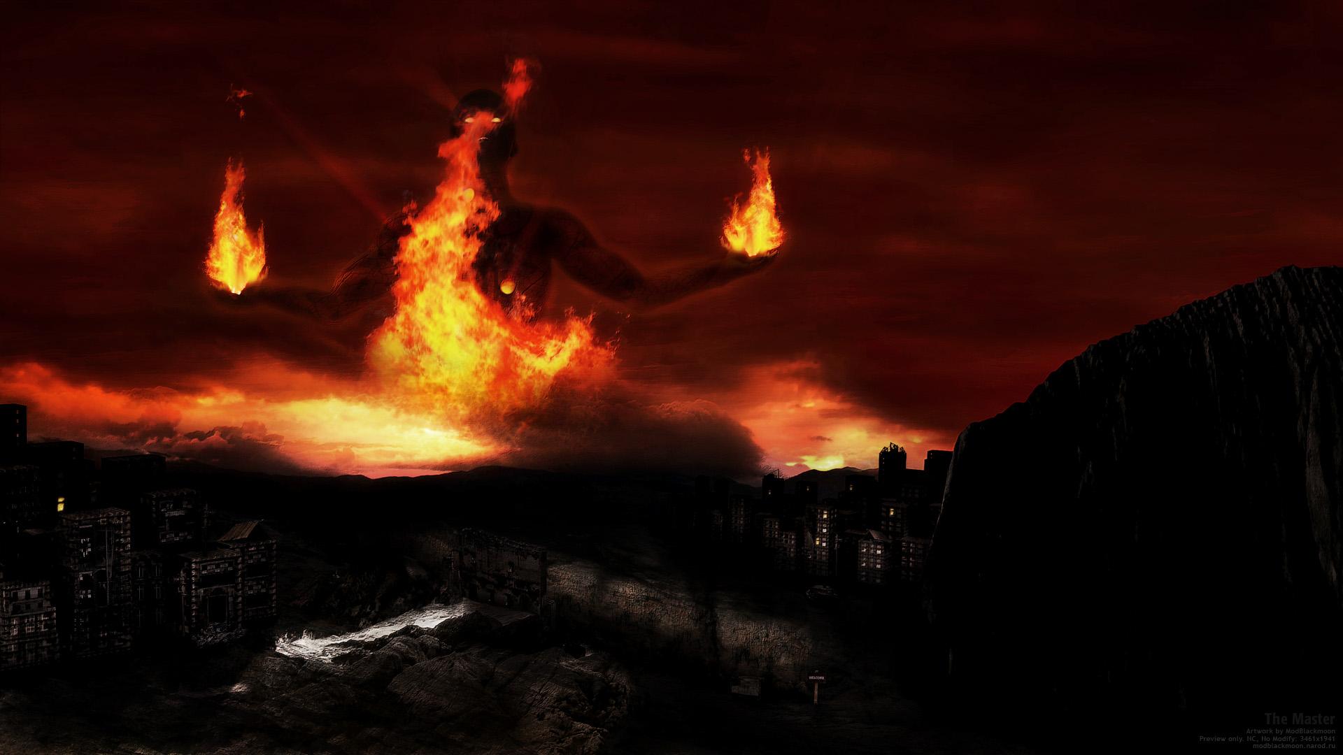 Обои для рабочего стола огонь ад