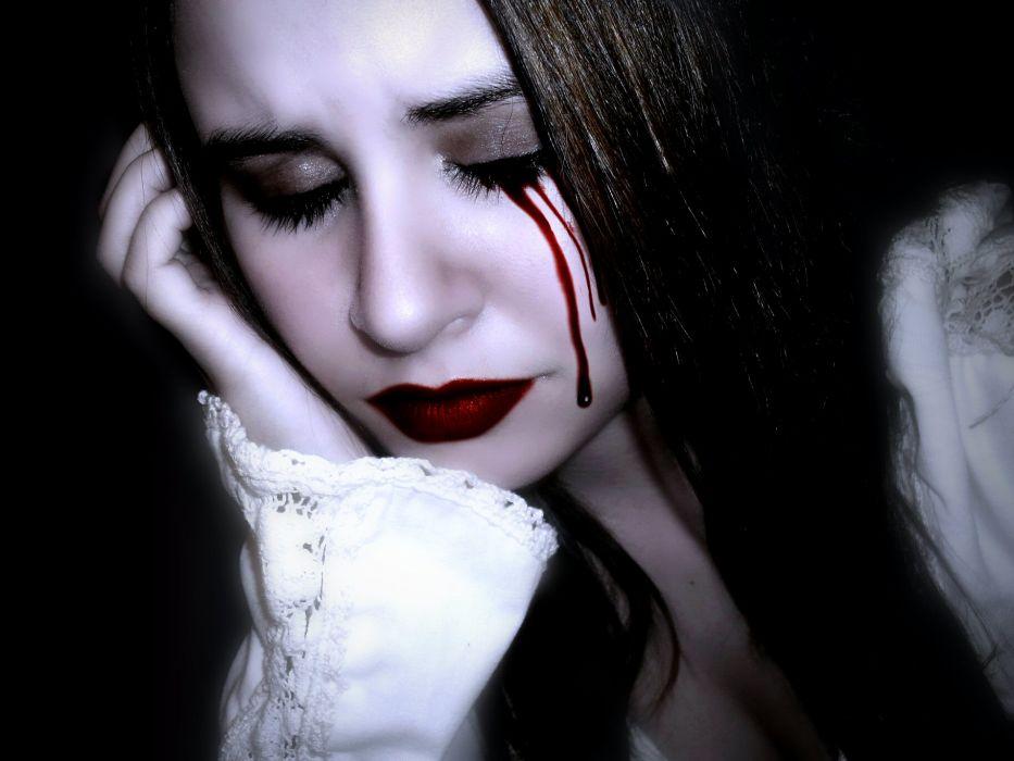 dark horror fantasy gothic women blood vampire wallpaper