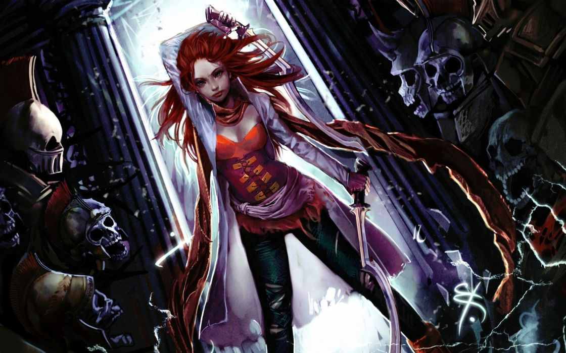 dark horror warrior girl women monster battle skull wallpaper