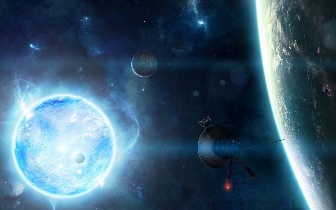 cg digital art space planets stars wallpaper