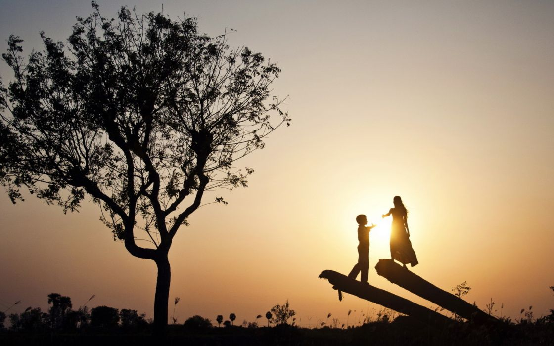 people children mood sunset trees wallpaper
