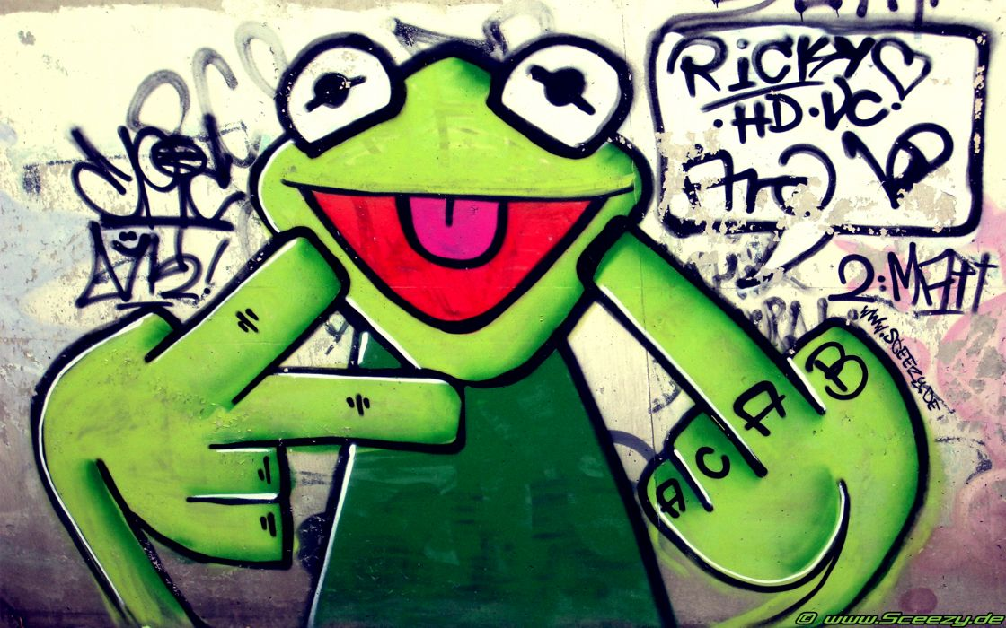 graffiti urban kermit fuck gesture wallpaper