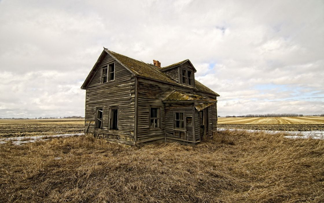 decay ruins mood alone house wallpaper