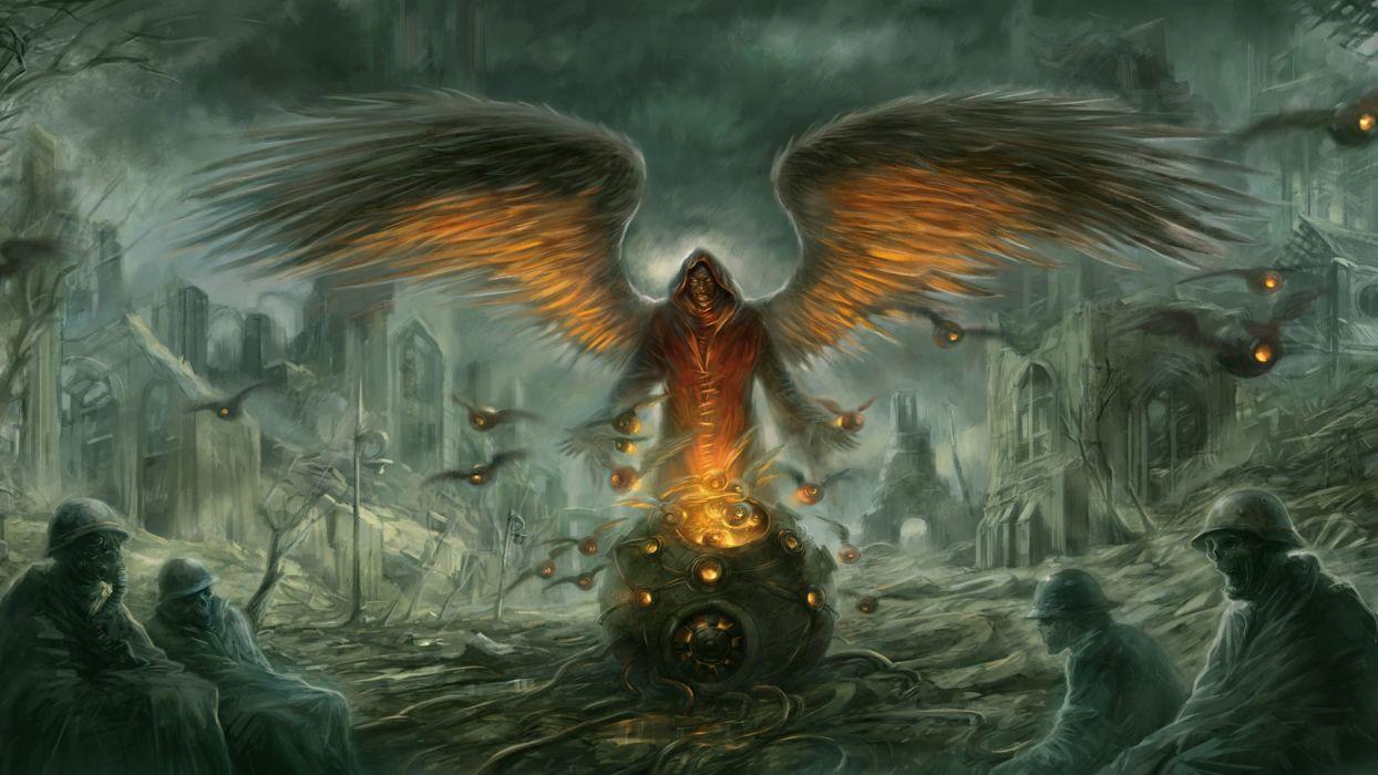 dark horror post apocalyptic demon evil angel warrior soldier skull wallpaper