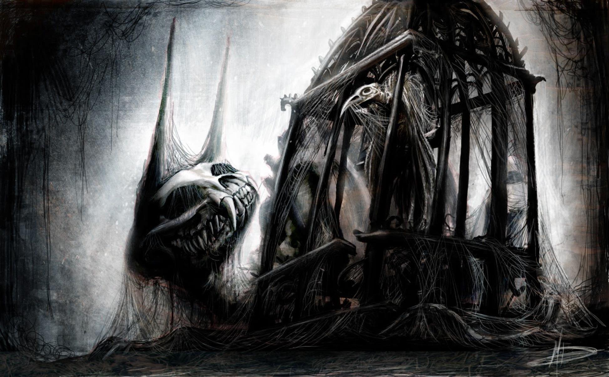 Dark horror gothic skull skeleton art monster fangs ...