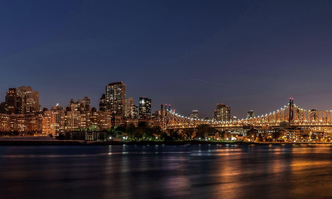 New York City architecture buildings bridges wallpaper