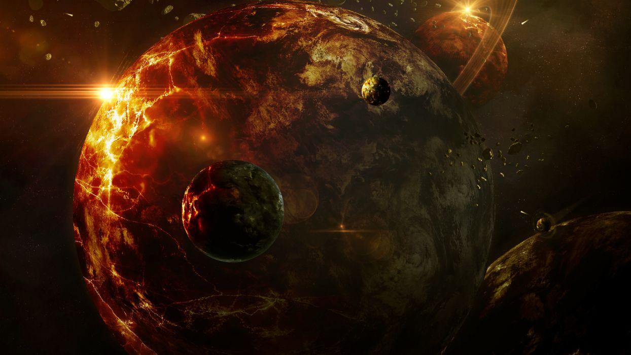 cg digital art sci fi planets stars wallpaper