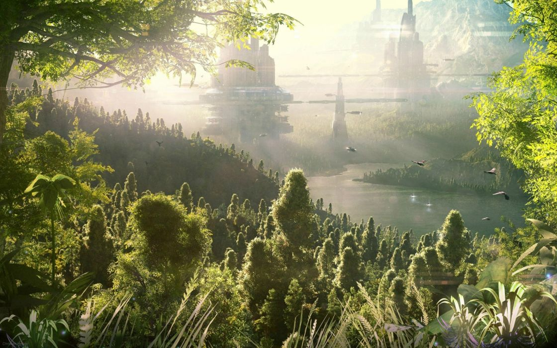 fantasy sci fi landscapes cg digital art jungle forest cities futuristic wallpaper