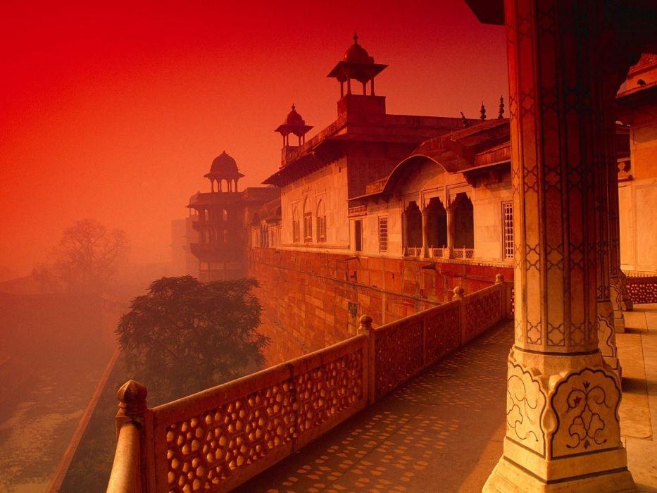 Agra Fort buildings sunset wallpaper